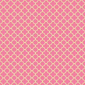黄色とピンクの四葉柄
