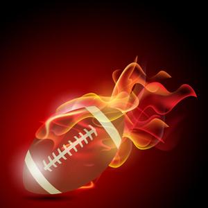 火災で現実的なアメリカンフットボール。白い背景の上のイラスト。