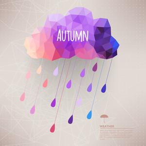 비 드롭 Pattern.label 디자인으로 삼각형 복고풍 배경 만들어진 레트로 구름과 함께 비 기호 소식통 배경입니다. 기하학적 Shapes.weather 배경으로 광장 조성. 가을 템플릿입니다.