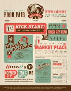 レトロ食品広告レイアウトデザインテンプレート