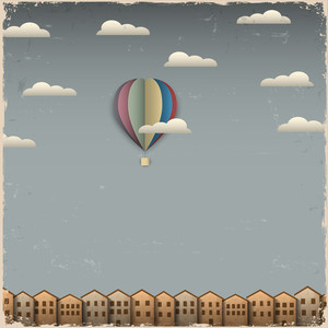Retro Hot Air Balloon And Town From Paper