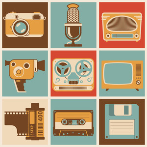 Retro Media Objects. Vector Design Elements Set.