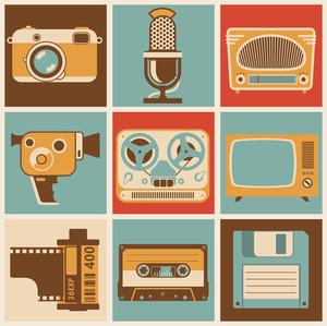 レトロなメディアオブジェクト。ベクトルのデザイン要素を設定。