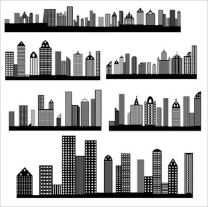 Retro Skylines Cityscapes Vectors