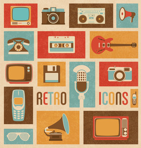 レトロスタイルメディアのアイコン|ヴィンテージエレメント|ノスタルジックデザイン|フィーリンググッドオールドデイズ|ヒップスタートレンド|ベクトルセット