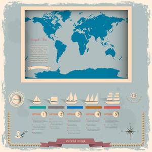 航海デザイン要素のあるレトロスタイルの世界地図