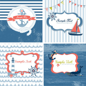 Set di 4 carte nautiche