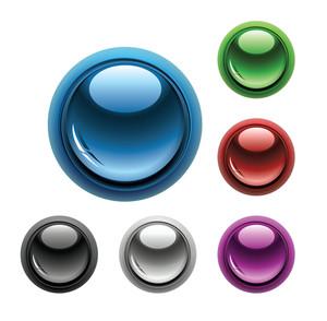 光沢のあるボタンのセット