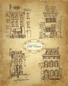 Set Of Old Hand Drawn Houses. 4 Stylish Town Houses With Pattern Of Real Paper