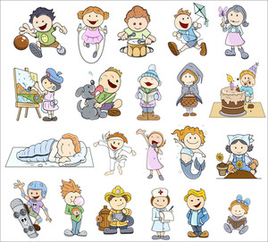 Set Of Various Cartoon Kids Illustrations