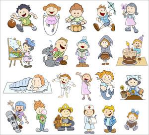 様々な漫画の子供のイラストのセット