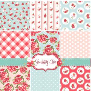 Shabby Chic Rose Patterns e senza sfondi. Ideale per la stampa su tessuto e carta o rottami di prenotazione.
