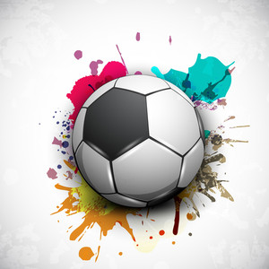 Shiny Soccer Ball On Grungy Colorful Background And Space For Your Message