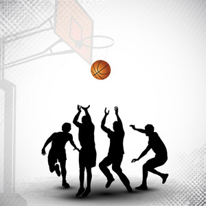 Silthouettes Of A Basketball Players Playing With Basket Ball Match On Abstract Grungy Basketball Court Background.