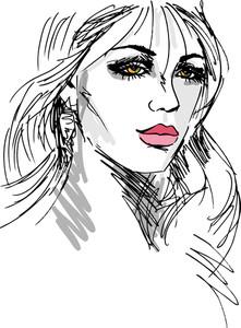 美女顔のスケッチ。ベクトルイラスト