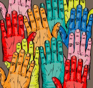 ボランティアグループの立ち上げ手をスケッチ。ベクトルイラスト