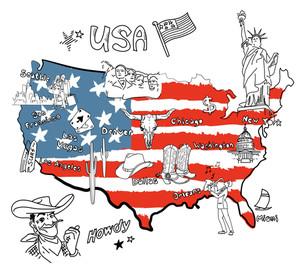 アメリカの様式化された地図。物事米国では、異なる領域それが有名です。