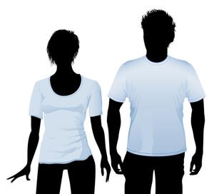 Tシャツと黒のボディシルエットとポロシャツデザインテンプレート(様々なヘアドレス)。ベクター。