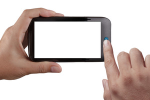 Teléfono móvil de pantalla, En Mano