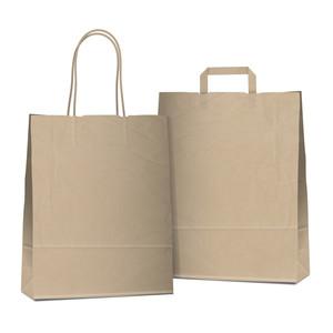 2つの空のショッピングブラウンバッグ