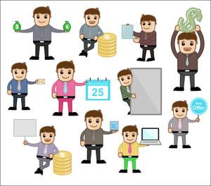 様々なコンセプト&ポーズ - オフィスやビジネス漫画のキャラクターのベクトルイラスト