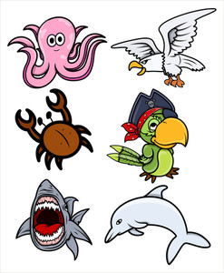 Various Sea Creatures - Cartoon Vector Illustration