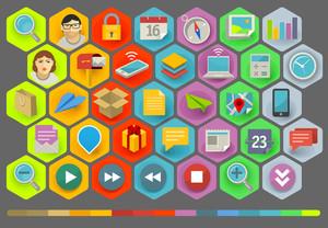 Vector plana Diseño de la Comunicación y de los iconos de negocios conjunto
