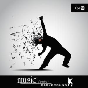 Vektor-Illustration Musical Mann und Musik-Knoten mit dem Burst-Effekt.