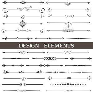 Vector Set Of Calligraphic Design Elements Et page Decor