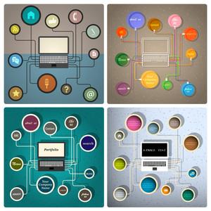 クリエイティブウェブデザインテンプレートのベクトルセット