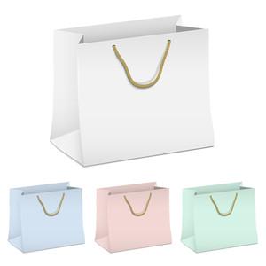 空のショッピング紙袋のベクトルセット