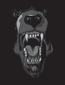 レイジングベアを持つベクトルのTシャツのデザイン