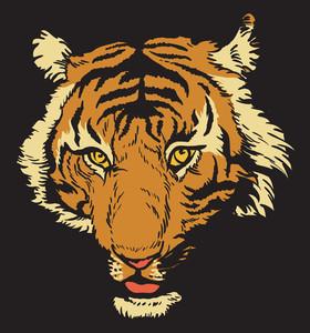 タイガーレイジングを持つベクトルのTシャツのデザイン