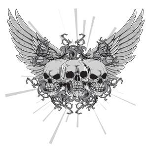 頭蓋骨を持つベクトルのTシャツのデザイン