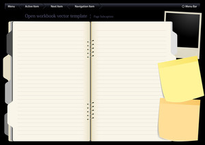 ナビゲーションボタンを持つベクトルテンプレートは、デスクトップでノートブックをオープンしました。