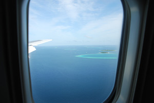 View On Maldives Islands From Airplane