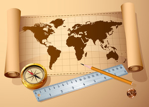 Vintage Map, Golden Compass Steel Ruler And Pencil. Vector Travel And Discovery Abstract.
