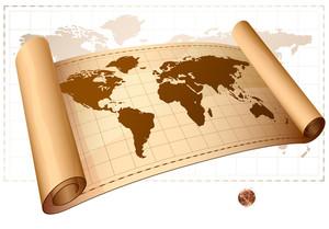ヴィンテージベクトルスクロール世界地図。