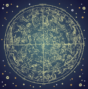 Vintage Zodiac Constellation Of Northen étoiles.