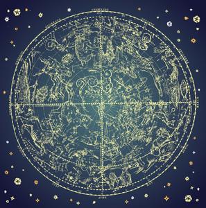 Constelación del zodiaco de la vendimia de Northen estrellas.