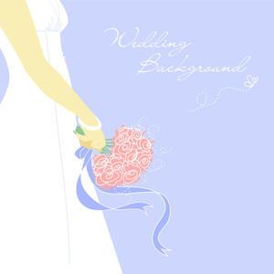 Wedding Bacground. Bride With Bouquet