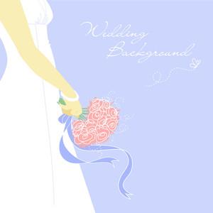 結婚式Bacground。ブーケと花嫁