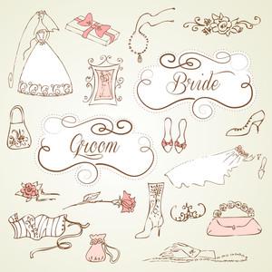 かわいいグラマラスいたずら書きとフレームの結婚式のセット