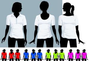 レディースTシャツとポロシャツブラックボディシルエットでデザインテンプレート(様々なヘアドレス)。ベクター。