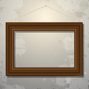 Wooden Empty Frame Of Picture On Old Wall