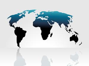 Mappa del mondo di sfondo isolato su bianco