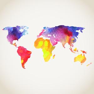 世界地図水彩画で描か