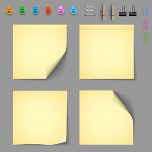 Documentos Aviso amarillo de elementos para la fijación de papel