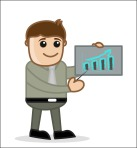 Graph Bar - Office And Business People Cartoon Character Vector Illustration Concept