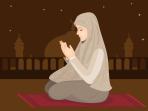 Vector Illustration Of Young Muslim Girl Praying.